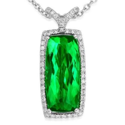 tourmaline pendant 5.88ct. set with diamond in cluster pendant smallest Image
