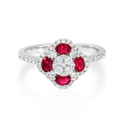 ruby ring 0.43ct. set with diamond in cluster ring smallest Image