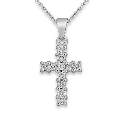 0.11ct. diamond pendant set with diamond in cross pendant smallest Image