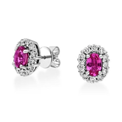 pink sapphire earrings 1.26ct. set with diamond in cluster earrings smallest Image