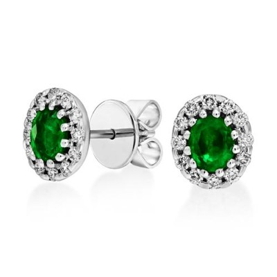 emerald earrings 0.66ct. set with diamond in cluster earrings smallest Image