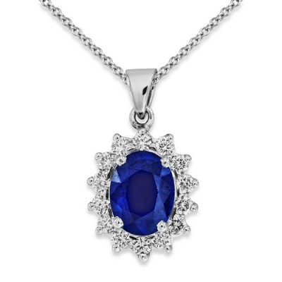 sapphire pendant 1.86ct. set with diamond in cluster pendant smallest Image