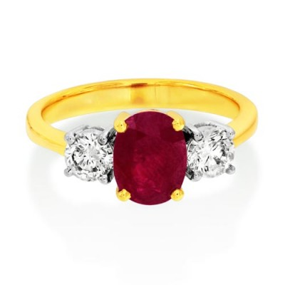 ruby ring 1.67ct. set with diamond in three stone ring smallest Image