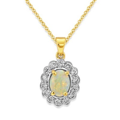 opal pendant 0.65ct. set with diamond in cluster pendant smallest Image
