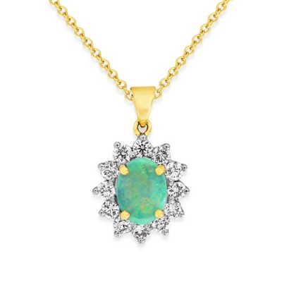 opal pendant 0.57ct. set with diamond in cluster pendant smallest Image