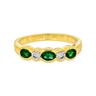 emerald ring 0.5ct. set with diamond in eternity ring smallest Image