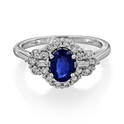 sapphire ring 1.33ct. set with diamond in vintage ring smallest Image