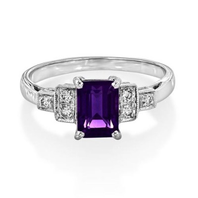 amethyst ring 1.2ct. set with diamond in seven stone ring smallest Image