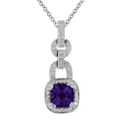 amethyst pendant 2.46ct. set with diamond in vintage pendant smallest Image