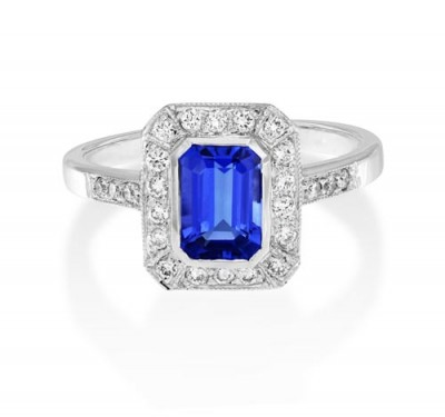 tanzanite ring 1.22ct. set with diamond in vintage ring smallest Image