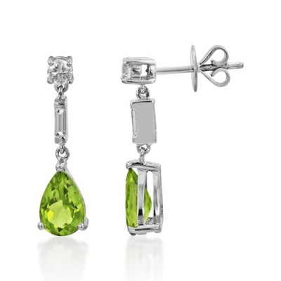 peridot earrings 2.26ct. set with diamond in drop earrings smallest Image