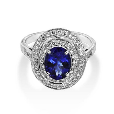 tanzanite ring 1.82ct. set with diamond in cluster ring smallest Image
