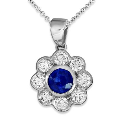 sapphire pendant 0.55ct. set with diamond in cluster pendant smallest Image