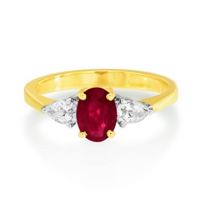 ruby ring 0.87ct. set with diamond in three stone ring smallest Image