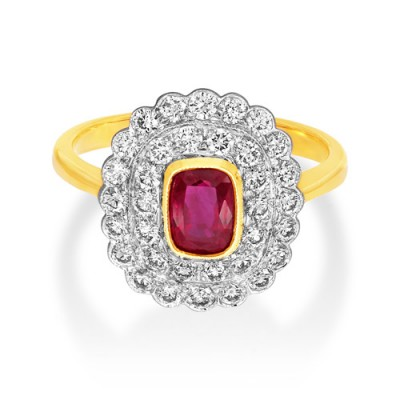 ruby ring 1.04ct. set with diamond in vintage ring smallest Image