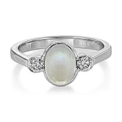 rainbow moonstone ring 1.8ct. set with diamond in three stone ring smallest Image