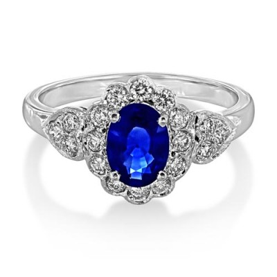 sapphire ring 0.94ct. set with diamond in vintage ring smallest Image
