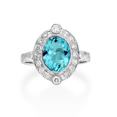 aquamarine ring 1.32ct. set with diamond in cluster ring smallest Image
