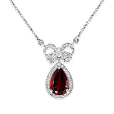 garnet necklace 2.14ct. set with diamond in vintage necklace smallest Image