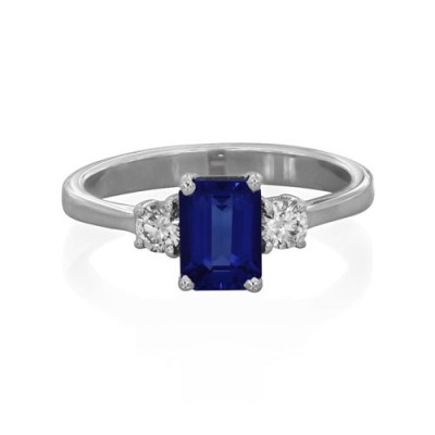 tanzanite ring 1.01ct. set with diamond in three stone ring smallest Image
