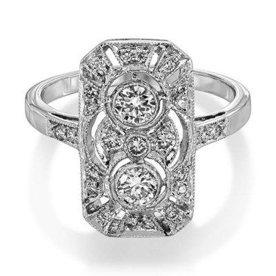 0.47ct. diamond ring set with diamond in vintage ring smallest Image