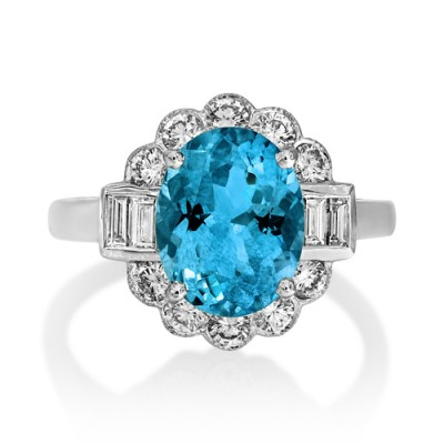 aquamarine ring 2.63ct. set with diamond in vintage ring smallest Image