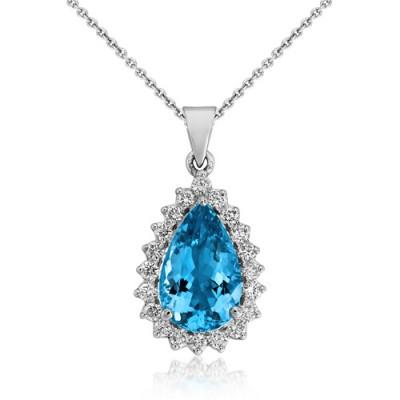 aquamarine pendant 3.34ct. set with diamond in cluster pendant smallest Image