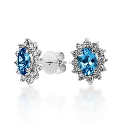 aquamarine earrings 1.18ct. set with diamond in cluster earrings smallest Image