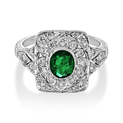 emerald ring 0.92ct. set with diamond in vintage ring smallest Image
