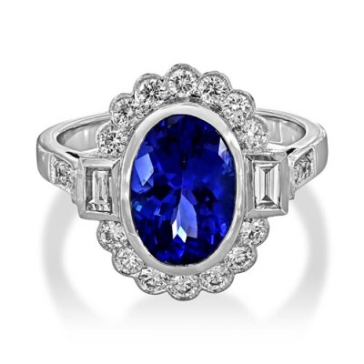 tanzanite ring 2.65ct. set with diamond in vintage ring smallest Image
