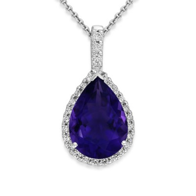 amethyst pendant 4.72ct. set with diamond in cluster pendant smallest Image