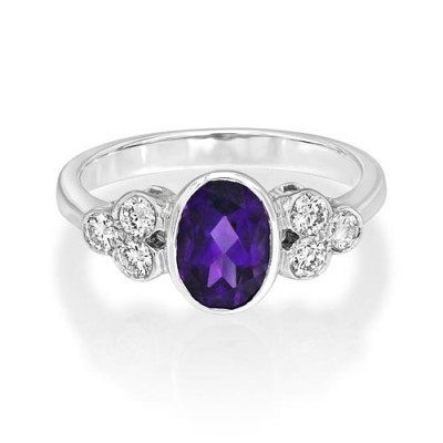 amethyst ring 0.96ct. set with diamond in seven stone ring smallest Image