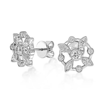 0.93ct. diamond earrings set with diamond in cluster earrings smallest Image