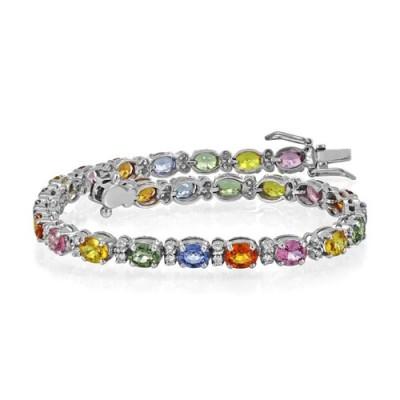 fancy sapphire bracelet 13.18ct. set with diamond in line bracelet smallest Image