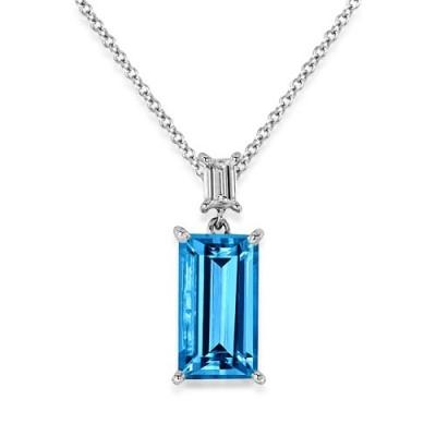 aquamarine pendant 3.62ct. set with diamond in solitaire pendant smallest Image
