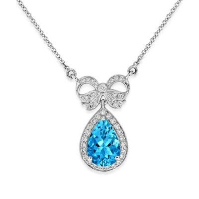 aquamarine pendant 1.12ct. set with diamond in vintage pendant smallest Image