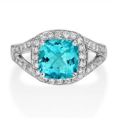aquamarine ring 2.26ct. set with diamond in vintage ring smallest Image