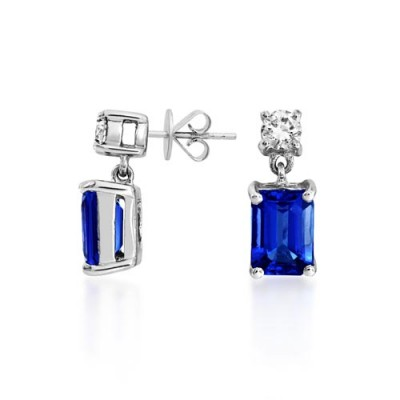 tanzanite earrings 2.08ct. set with diamond in solitaire earrings smallest Image
