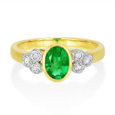 emerald ring 0.76ct. set with diamond in seven stone ring smallest Image