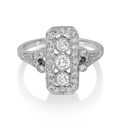 0.79ct. diamond ring set with diamond in vintage ring smallest Image