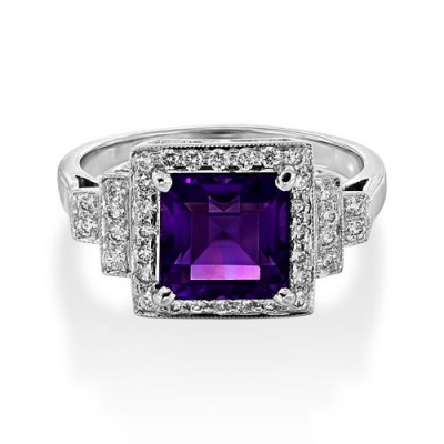amethyst ring 2.34ct. set with diamond in vintage ring smallest Image