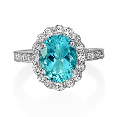 aquamarine ring 1.94ct. set with diamond in vintage ring smallest Image