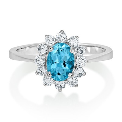 aquamarine ring 0.69ct. set with diamond in cluster ring smallest Image