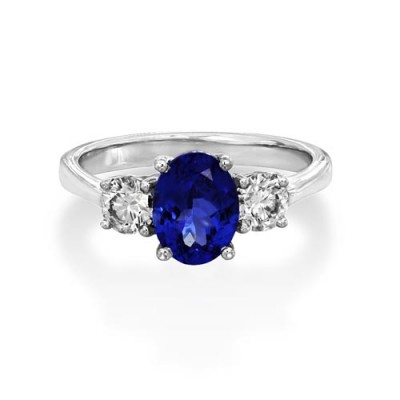 tanzanite ring 1.51ct. set with diamond in three stone ring smallest Image