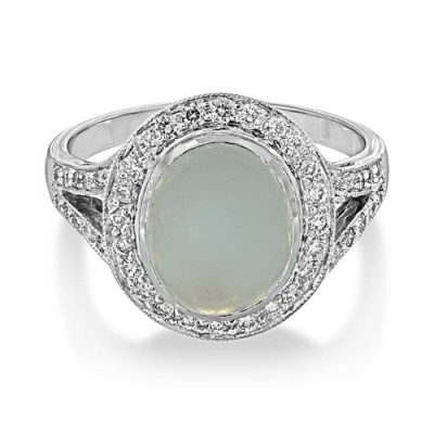 rainbow moonstone ring 3.11ct. set with diamond in cluster ring smallest Image