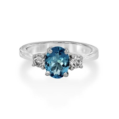 aquamarine ring 1.14ct. set with diamond in three stone ring smallest Image