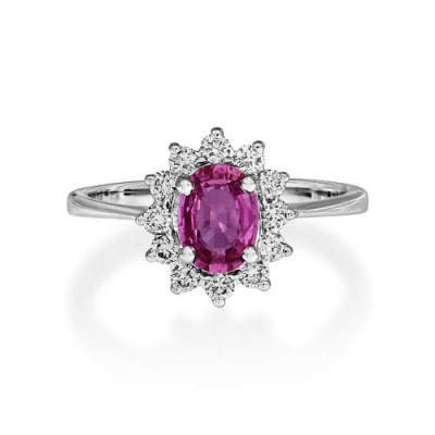 pink sapphire ring 0.89ct. set with diamond in cluster ring smallest Image