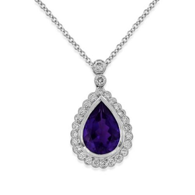 amethyst pendant 4.9ct. set with diamond in cluster pendant smallest Image