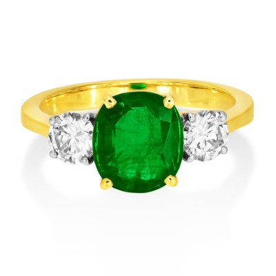 emerald ring 1.89ct. set with diamond in three stone ring smallest Image
