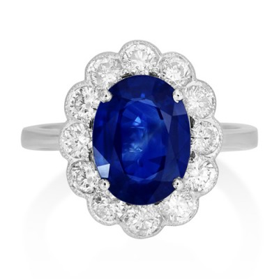sapphire ring 2.75ct. set with diamond in cluster ring smallest Image